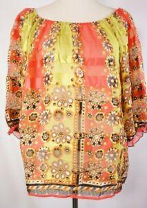 Anthropologie-silk-blouse-Fei-Size-Large-floral-sheer-boho-festival