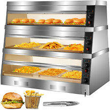 Vevor 48 Food Court Restaurant Heated Pizza Display Warmer Cabinet Case 3 Tier