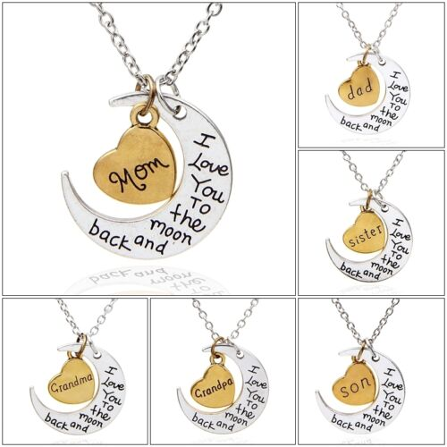 I Love You To The Moon And Back Gold /& Silver Heart Family Necklace Pendant  UK