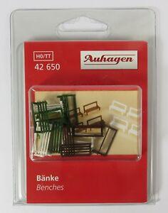 BNIB-42650-OO-HO-GAUGE-12-BENCHES-FOR-PARK-STATION-GARDEN-ETC-AUHAGEN