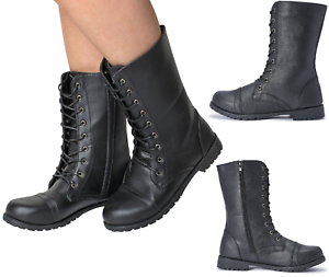 Ladies-Womens-Girl-Military-Black-Boots-Army-Combat-Ankle-Lace-Up-Flat-Biker-Zip
