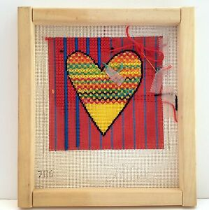 Valentine-Heart-Needlepoint-Canvas-HP-Love-DeElda-Colorful-13m-Started-on-Frame