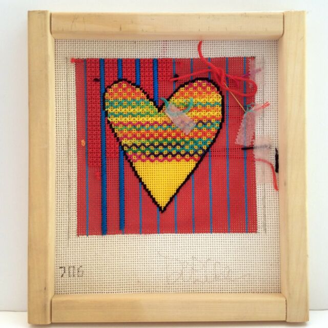 Valentine Heart Needlepoint Canvas HP Love DeElda Colorful 13m Started on Frame
