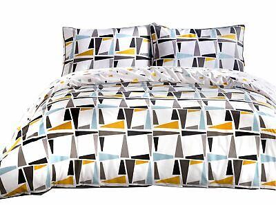 VertrauenswüRdig Geometrisch Dreiecke Formen Verrohrt Blau 180tc 100% Cotton Super King Bettbezug Hohe Belastbarkeit Bettwäschegarnituren Bettwäsche