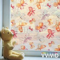 Vvivid Butterfly Pattern 36 X 6ft Vinyl Window Film Privacy Decal