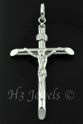 18k solid white gold JESUS CHRIST cross pendant  #2768 h3jewels 2.20 grams