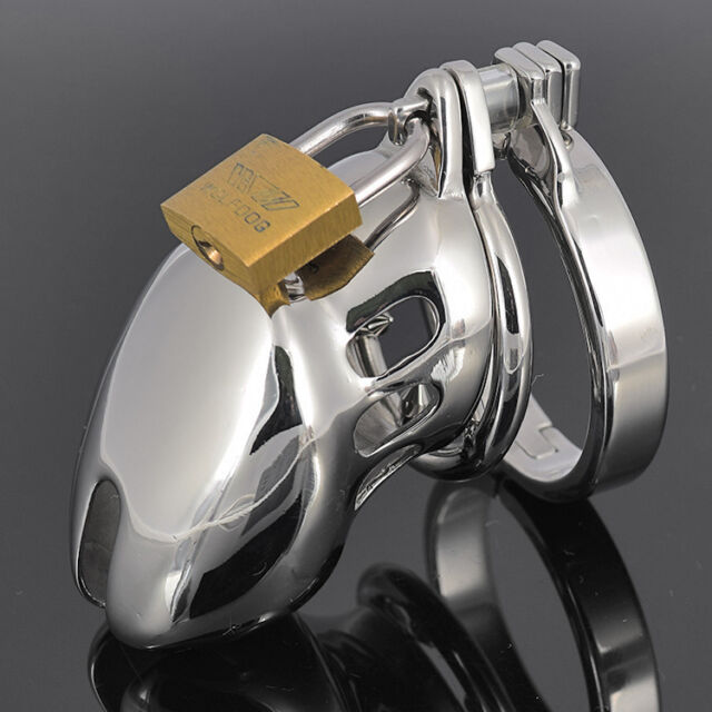 New Sexy Male Chastity Device Short Bird Lock Stainless Steel Cock Cage