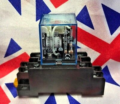 ⭐⭐ 24v AC Coil General purpose Relays 8 Pin with DIN Sockets DPDT 5A MY2NJ ⭐⭐