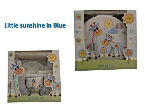 Little Sunshine Girafe Design Argent Boîte ou Egg Cup Set bébé idée cadeau