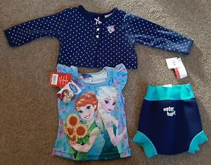 Baby-Girl-9-12-12-Month-Disney-Frozen-Top-Outfit-Clothes-Happy-Nappy-Swim-Pants