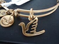 Alex And Ani Sacred Dove Russian Gold Finish Charm Bangle W/ Tag Card & Box