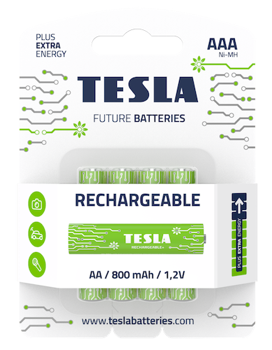 (4 Pack) TESLA Rechargeable Batteries, AAA, Future Batteries, Long Lasting, 4x