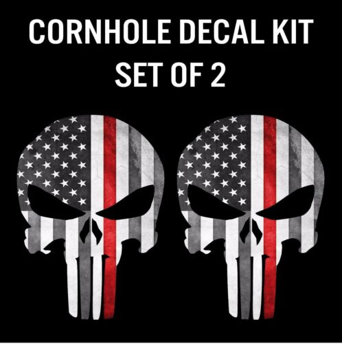 Punisher Skull Firefighter Red Line Flag Cornhole Decal Sticker Graphic Set