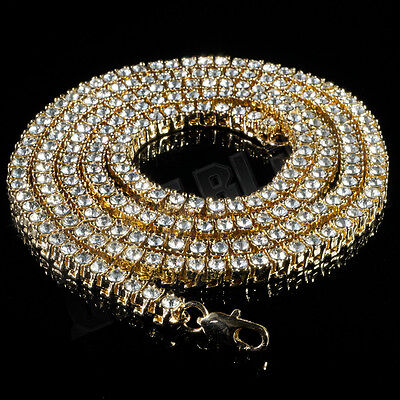 14k Gold Simulated Clear Diamond Iced Out Men 1 Row Tennis Chain HipHop Necklace