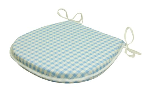 Gingham Sky Blue D-Shaped Garden//Patio//Kitchen//Dining Tie-On seat pads *3 Sizes*