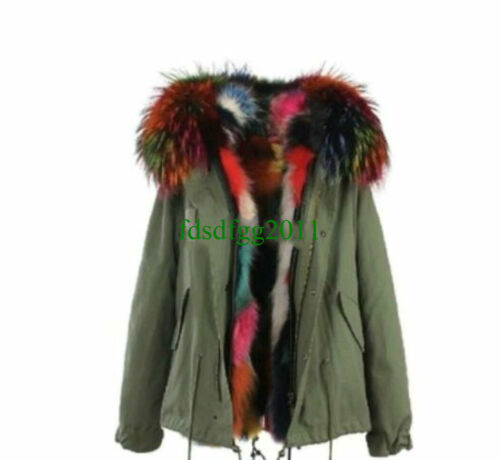 Womens Hood color Multi And Coat Parka Real Jacket Lining Fur Raccoon ZgSUq