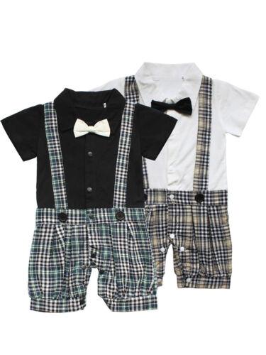Vêtement de Bébé garçon Salopette Manches Courtes Cravate Barboteuse Baptême