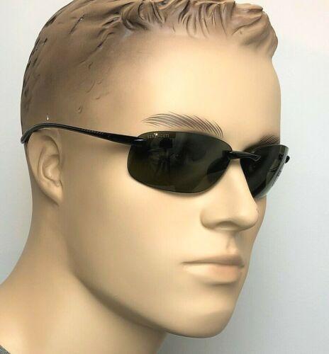 SERENGETI NUVOLA Men Rimless Sunglasses BLACK POLARIZED PHOTO 555 GREEN 7718 61