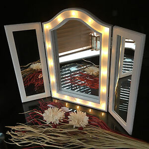 Image Is Loading Large Triple Fold 3way Sections Led Mirror LED