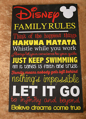 mickey inspirational disney family rules quote verses sign wall