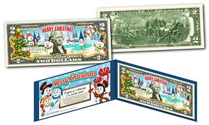 MERRY-CHRISTMAS-SNOWMAN-XMAS-OFFICIAL-Genuine-Legal-Tender-U-S-2-Bill
