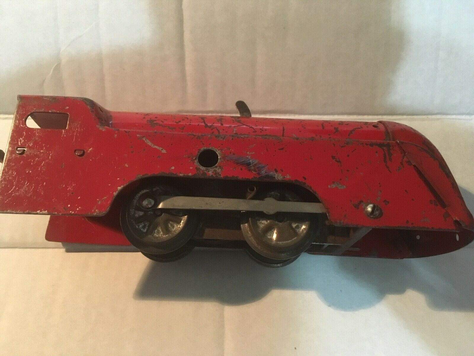 Antique Marx Locomotive Engine Pre-War WW2 rot Wind Up Toy Train AS IS