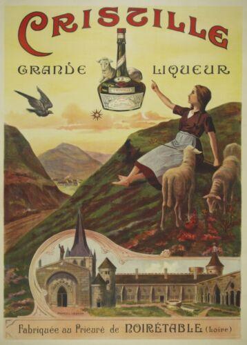 1900/'s France CRISTILLE GRAND LIQUEUR 250gsm A3  Belle Epoque Poster