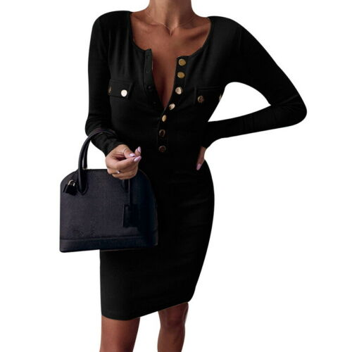 Femme col V à manches longues Robe moulante Femmes Pull en mailles pull Mini robe