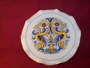 Deruta ~ Ceramiche ~ Pedestal Scalloped Cake Stand 11\