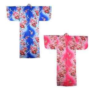 Japanese-Children-Girl-Cotton-Yukata-Kimono-Sash-Belt-Robe-Floral-Made-in-Japan