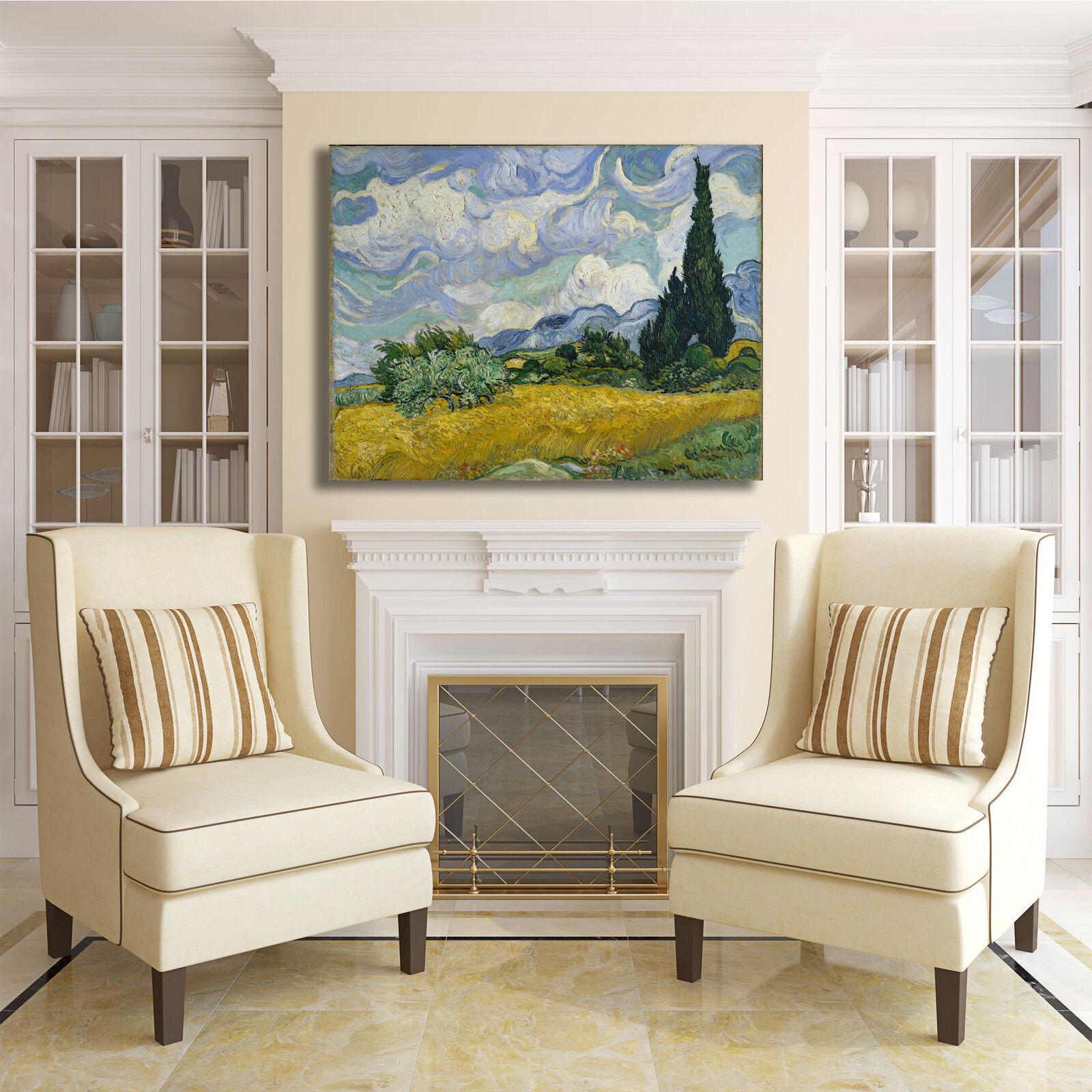 Van Gogh campo di grano con cipressi quadro stampa telaio tela dipinto telaio stampa arRouge o d7382a