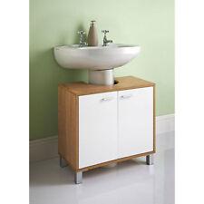 Under Sink Basin Storage Unit in White and Oak Wood Bathroom Furniture Cabinet