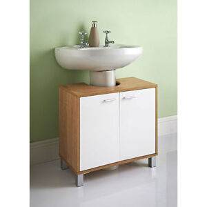under sink bathroom cabinet sink basin storage unit in white and oak wood 21110