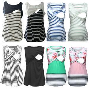 Women-Pregnancy-Maternity-Vest-Tank-Stripe-Sleeveless-Top-Nursing-Blouse-T-Shirt