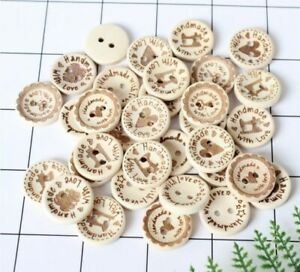 """Decorative Wooden Buttons 20mm """"Handmade with love"""" multi pack of 8"""