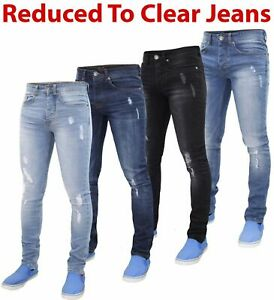 Mens-Skinny-Ripped-Jeans-Super-Stretch-Denim-Pants-Trousers-Blue-All-Waist-Sizes