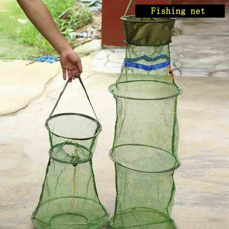 Folding Fishing Nets Bait Cages Tackles Anti-hook Portable Outdoor Fishnet Tools