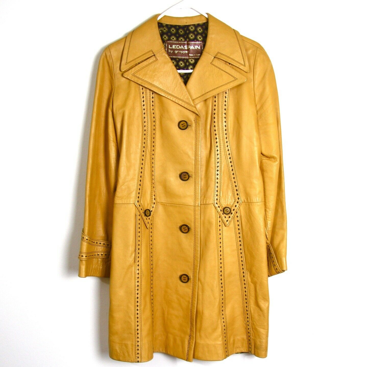Vintage Yellow 1960s Women's leather Trench Coat Leda Spain By Gropper