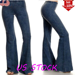 Women-039-s-Denim-Jeans-High-Waist-Flared-Wide-Leg-Trousers-Ladies-Bell-Bottom-Pants