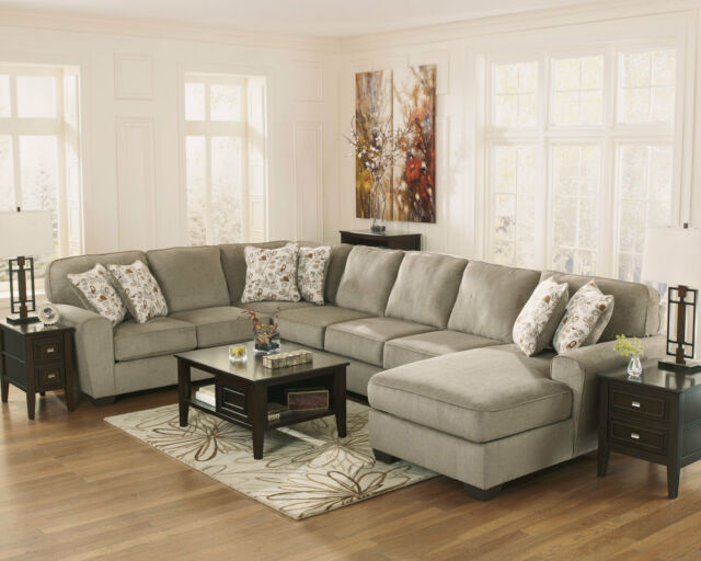 Modern Living Room 4 piece Sectional Large Gray Fabric Sofa Couch Chaise  Set G0Y