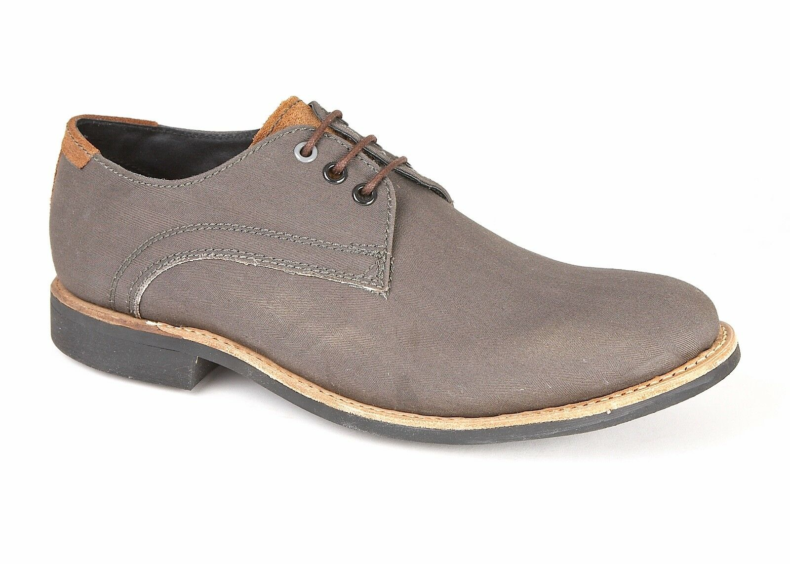 Lambretta Mens shoes Canvas Grey Brown Goodyear Welted Rubber Sole Round Toe
