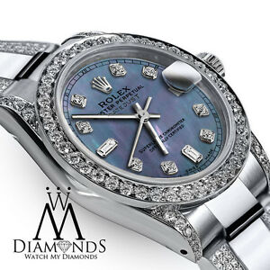 Women-039-s-31mm-Rolex-Oyster-Perpetual-Datejust-Custom-Blue-Diamond-Stainless