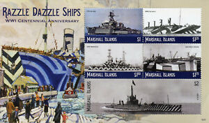Marshall-Islands-2018-MNH-WWI-WW1-Razzle-Dazzle-Ships-5v-M-S-II-Military-Stamps