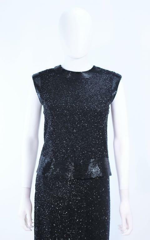 CEIL CHAPMAN 1960s Black Hand-Beaded Evening Ense… - image 3