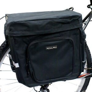 PEDALPRO-BICYCLE-BIKE-CYCLE-BLACK-TWIN-DOUBLE-STRONG-REAR-PANNIER-BAG