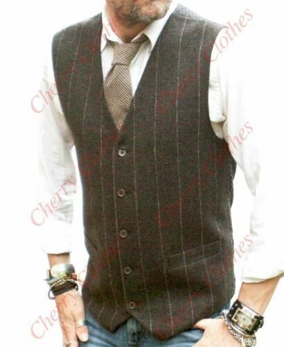 Wool Blend Tweed  Vest Jacket Gilet Formal Casual Mens Waistcoat Waistcoats