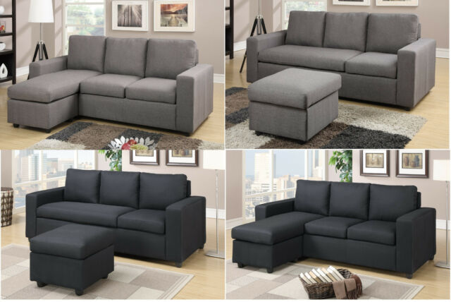 Modular Sectional sofa Reversible Sofa Couch Furniture 2 Pc in Gray & Black