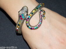 Mystical Serpent Gold / Brown and Rainbow Crystal Snake Bangle / Bracelet / Cuff