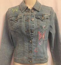 Girls Arizona Jean Co Stretch Denim Jacket Size L Light Wash Sequin Butterflies