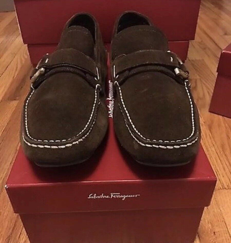 db9094a9a04 Salvatore Ferragamo Marco Brown Suedecalf Driving Loafers Loafers Loafers  shoes Size 8 e6ccec ...